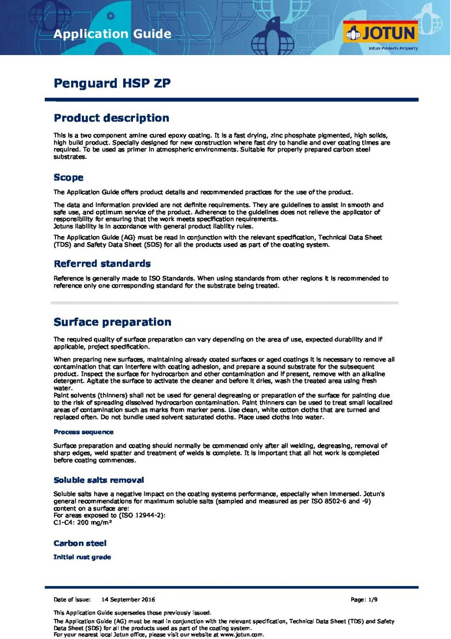 Penguard HSP ZP Guide pdf Penguard HSP ZP Avace Limited